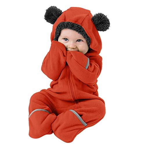 Luotuo 0-24Monat Neugeborene Fleece Jumpsuit Mit Kapuze Strampler Kind Baby Karikatur Ohren Langarm Hooded Plüsch Spielanzug Warm Overall Schlafanzug Outfit