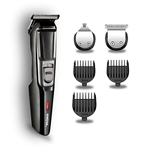 Nova NHT 1077 Cordless: 30 Minutes Runtime Rechargeable 4 Length Settings with Detail Beard Trimmer for Men