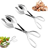 2 PACK Buffet Tongs,Stainless Steel Salad Tongs,Serving Tongs for Home...