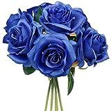 Yyhmkb Paquete De Ramillete De Ramo De Rosas Azul Real Artificial De 25 Cm con 7 Grandes De 4 ''Cabezas De Flores - Boda En Casa