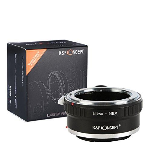 Adattatore da Nikon a Sony E Mount, adattatore per obiettivo K&F Concept con treppiede per Nikon/Nikkor AI/F Mount su Sony E Mont, adatto per Sony A7 A6000 A6300 A6500 A5000 A5100 NEX 7 NEX 5 NEX 5N 6 3N
