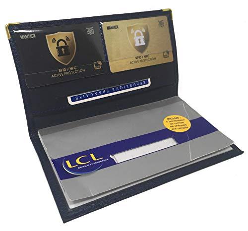 MAMJACK - Portafoglio/portamonete, porta carte di credito, in pelle, da uomo e donna, blu (Blu) - .