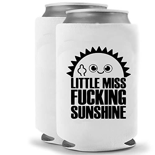 Little Miss Fucking Sunshine | Lustige Neuheit Dosenkühler Coozie Coolie Huggie – Set von 2 (2) | Bier-Getränkehalter – Biergeschenke Zuhause – Hochwertiges Neopren Kein Verblassen Dosen-Kühler