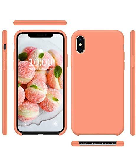 Funda de Silicona Silicone Case para iPhone X, iPhone XS, Tacto Sedoso Suave, Carcasa Anti Golpes, Bumper, Forro de Microfibra (Melocotón)