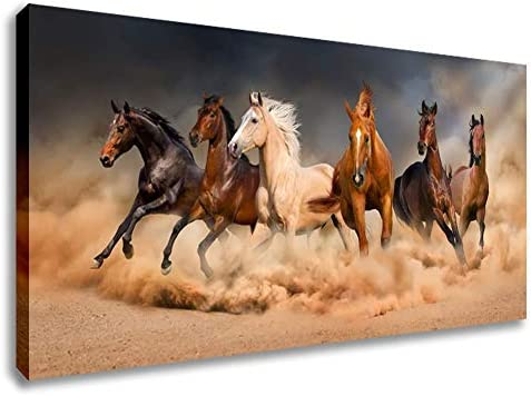 Inzlove Runnning Horses Oil Paintings Print on Canvas Wild Animal Wall Art Pictures Artwork product image