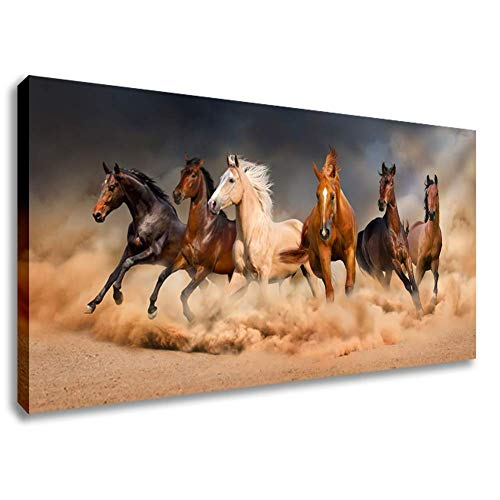Inzlove Runnning Horses Oil Paintings Print on Canvas Wild Animal Wall Art Pictures Artwork for Bedroom Decorations