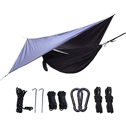 APXZC Lichte campinghangmat met overkapping, 210T nylon spinning, robuuste veiligheid, scheurvastheid, waterdicht, voor familie, tuin, lawn beach, inclusief accessoires