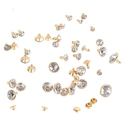 Duradero 200SETS 5-11.2mm Cristal Rhinestone Rhinestone Remaches Remaches Diamante Studs DIY Crafts Arts Decoración de cuero Espigas Puntas de cristal Taladro Nail para la decoración de cuero