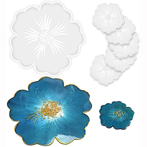 KNMY - Juego de 6 posavasos de resina epoxi con forma de flor (resina epoxi)