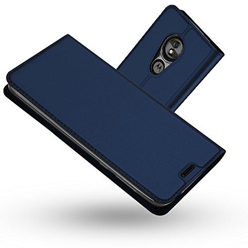 Radoo Coque Motorola Moto E5,Coque Moto G6 Play, Ultra Mince en Cuir PU Premium Housse à Rabat Portefeuille Coque Étui de Protection Bumper Folio à Clapet pour Motorola Moto E5/Moto G6 Play (Bleu)