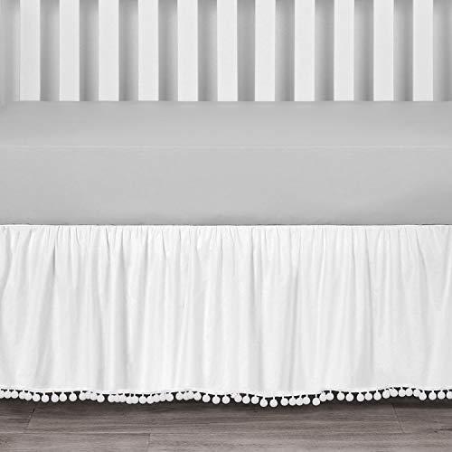 TILLYOU Ruffled Crib Skirt with Pompoms, Microfiber Nursery Crib Toddler Bedding Skirts for Baby Boys Girls, 14'' Drop,White