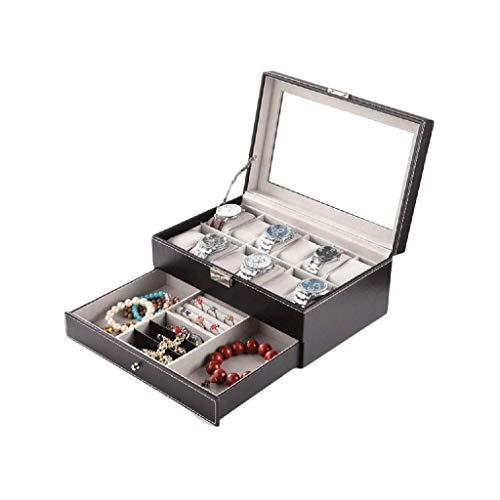 XZJJZ Box-Caja de Reloj de joyería Hombres Ranuras Premium sólido sostenedor del Reloj Organizador Display Reloj de Gran Caja de Almacenamiento y Duradero (Color : Black)
