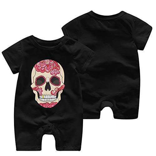 Mark Stars Sugar-Skull-and-Roses Body Bébé Enfant Combi-Short pour bébé à Manches Courtes(12M,Noir)
