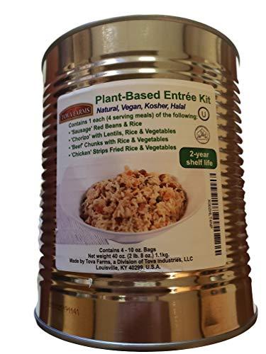Emergency Food Kosher Vegan Plant Based Meal Entrees, 4 Different Meals 4 Servings Each; 40 oz Can