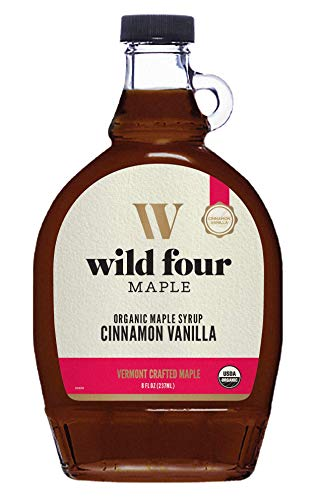 WildFour Organic Maple Syrup, Cinnamon Vanilla Maple Syrup from Vermont, Gluten-Free, Classic Combination (8oz.), 237 mL