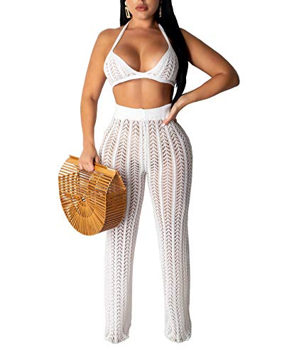 Salimdy Women Two Piece Skirt Set - Sexy Hollow Out Halter Bra Top with Long Pant Cover Up Bikini Beach Jumpsuit White S