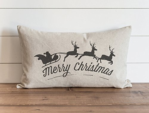 Merry Christmas Santa & Sleigh Pillow Cover Christmas Holiday Throw Pillow Gift for Her Accent Pillow