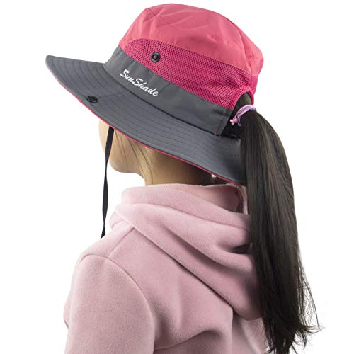 Girls Summer Sun Hat Wide Brim UV Protection