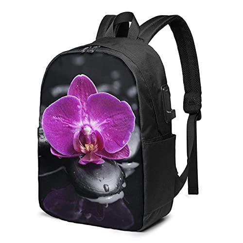 XCNGG Mochila para portátil, Mochila Ligera de Viaje de 17 Pulgadas con Flores de Puerto de Carga USB