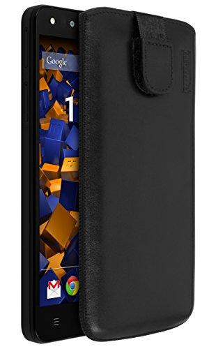 mumbi Echt Ledertasche kompatibel mit Medion Life x5001 Hülle Leder Tasche Hülle Wallet, schwarz