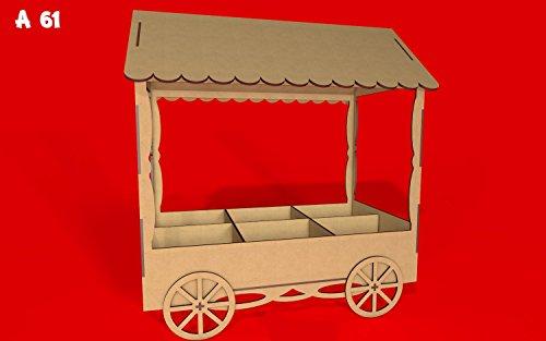 Kit para hacer carrito de chuches de madera DM para candy bar mesa dulce. Medidas: 67cm de alto x 60 cm de ancho x 34 cm de fondo