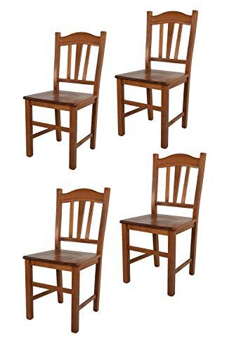 Tommychairs - Set 4 sedie modello Silvana per cucina bar e sala da pranzo, robusta struttura in legno di faggio color noce chiaro e seduta in legno