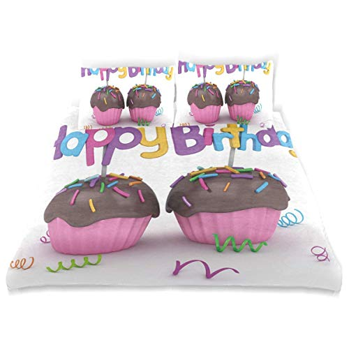Juego de Funda nórdica Cumpleaños Chocolate Cupcakes Estampado Decorativo Juego de Cama de 3 Piezas con 2 Fundas de Almohada Fácil Cuidado Antialérgico Suave Suave