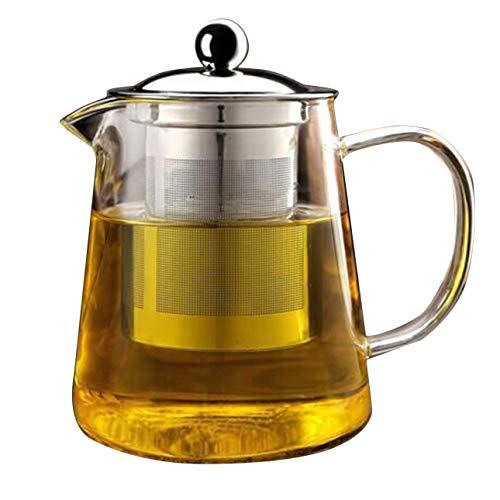 Ballylelly Tetera de vidrio de borosilicato transparente transparente no tóxica Elegante tetera de vidrio de té con colador de infusor de acero inoxidable