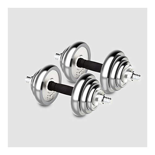 WFS Pesas Gimnasio Mancuernas Ajustable Pesos Pesas Conjunto Grado Moldeada Diseño Duradero, con Estrías de Agarre Chrome con La Biela Utiliza como Barra Musculación (Two Total Weights : 15kg/33lb)