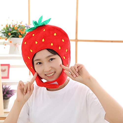 shenruifa 2021 Chapeau tendance en peluche avec motif de fraise, accessoire de cosplay, pour Halloween, Noël