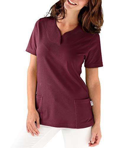 CLINIC DRESS Longshirt - Damen Shirt leicht tailliert 1/2 Arm hinten länger Saum abgerundet 60° Wäsche Bordeaux 46/48 48 50