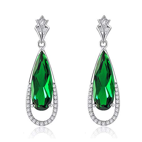 Navachi 925 Sterling Silver 18k White Gold Plated 7.1ct Square Emerald Az9735e Drop Stud Earrings