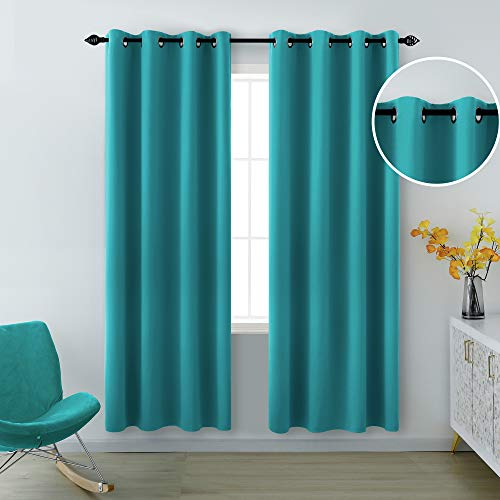 Teal Curtains 84 Inch Length for Living Room Set of 2 Panels Grommet Pair Drapes Light Blocking Insulated Thermal Room Darkening Window Blackout Curtains for Bedroom 52 x 84 Inches Long