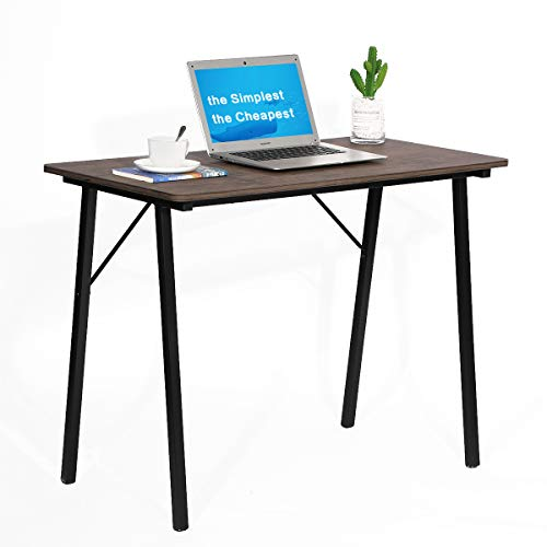 Coavas Escritorio, escritorio de estudio simple, escritorio de ordenador, pequeño industrial para casa, oficina, con patas de metal, para estudiantes, mesa de madera, 80 x 48 x 74 cm, nogal y negro