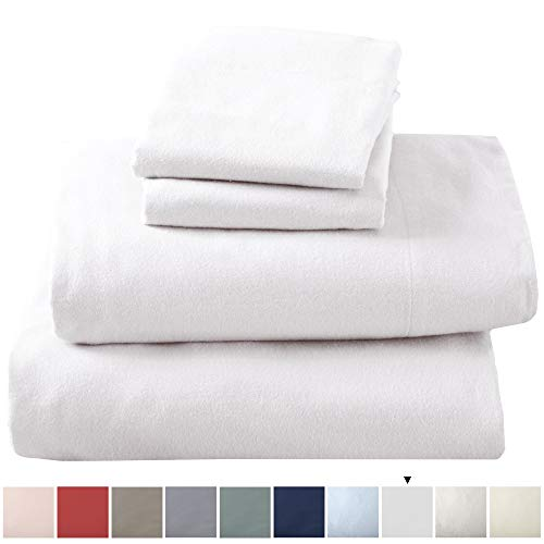 Great Bay Home Extra Soft 100% Turkish Cotton Flannel Sheet Set Warm Cozy Lightweight Luxury Winter Bed Sheets in Solid Colors Nordic Collection Twin Winter White