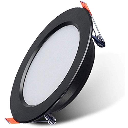 YBright Techo 5W lámpara empotrada LED ultra-delgado marco Downlight Negro Panel PC Luz Blanca Fría 60000K iluminación Cut Φ80-95MM incombustible 4,3 pulgadas cubierta dampproof de Cocina Baño