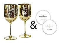 Photo Gallery moët & chandon - calici ice impérial per champagne e prosecco in acrilico, con un set di sottobicchieri di carta oro