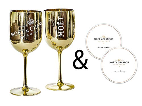 Moët & Chandon Ice Impérial Champagner & Prosecco Acryl Gläser Becher mit einem Set Papieruntersetzer gold