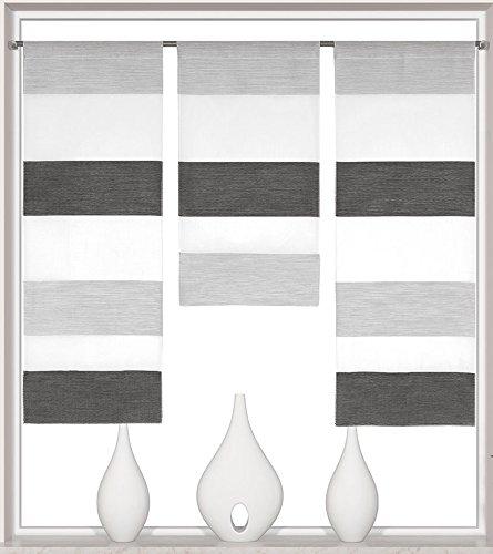Decocompany Home Design Mini Flächenvorhang Set anthrazit 2280 | 3 Teile | Scheibengardine Gesamtbreite 90cm (3x30cm) Höhe 80/60/80cm