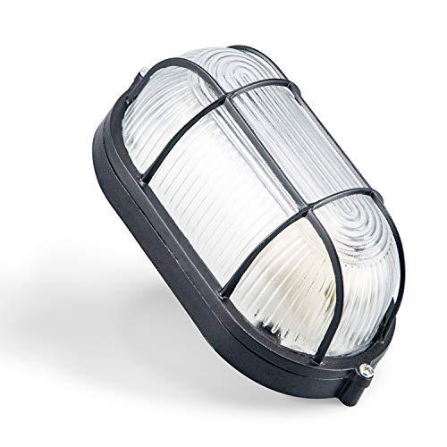 Aplique de pared exterior ovalado redondo Acabado en negro.100x210x80 Lámpara fabricada en aluminio, cristal IP54 (OVALADO NEGRO)