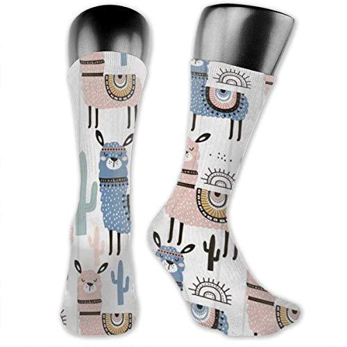 Nice-Guy Lama Alpaka Kaktus bedruckte Crew Socken Bunte Unisex-Adult Socken