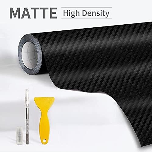 WSDF 3D Vinilo Fibra Carbono, Película Pegatina Decoración con Conducto de Aire Anti-Burbujas e Impermeable para Auto, Motocicleta, Interior Exterior