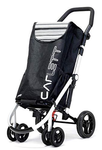 Carlett Lett460 Deluxe Shopper Einkaufstrolley mit Sicherheitsbremse und Thermofach Schwarz
