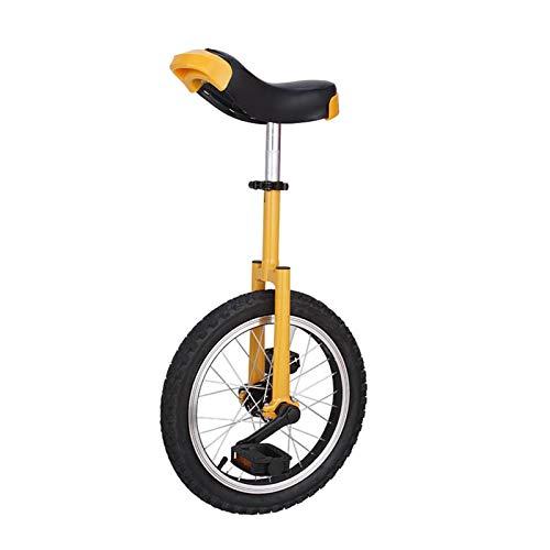 TTRY&ZHANG Adultos Big Kids Unicycle Bike con Rueda de 16'/ 18' / 20', niñas niñas Unisex Principiante Bicicleta Amarilla para Deportes al Aire Libre, Equipo de Equilibrio (Size : 40CM(16INCH))