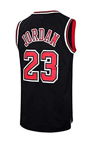 A-lee Men's Jersey Bulls Vintage NBA Champion Michael Jordan Jersey Chicago Bulls #23 Mesh Basketbal (S, Schwarz-2)