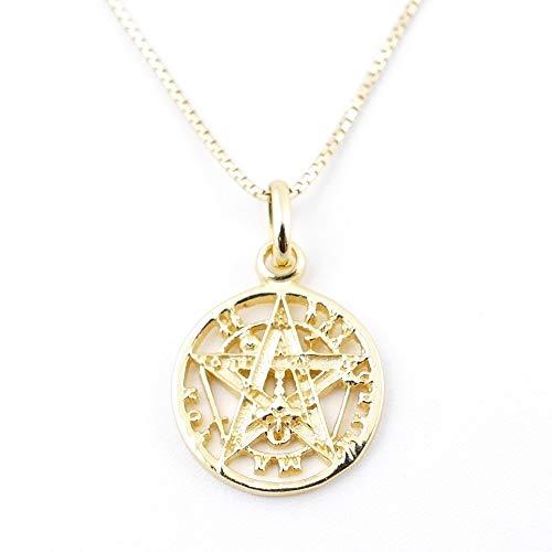 ARITZI - Collar Delicado de Plata de Ley 925 con medallón de Tetragrammaton en Color Oro - Incluye una Cadena Box Chain en 45cm de Plata - Distintos diametros