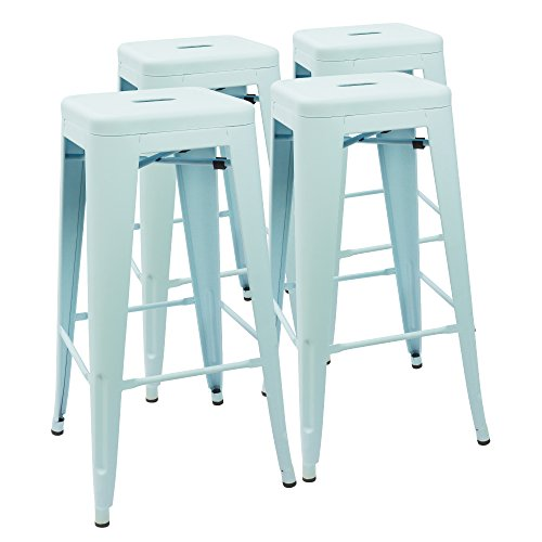 Devoko Metal Bar Stool 30'' Tolix Style Indoor/Outdoor Barstool Modern Industrial Backless Light Weight Bar Stools with Square Seat, Set of 4 (Dream Blue)