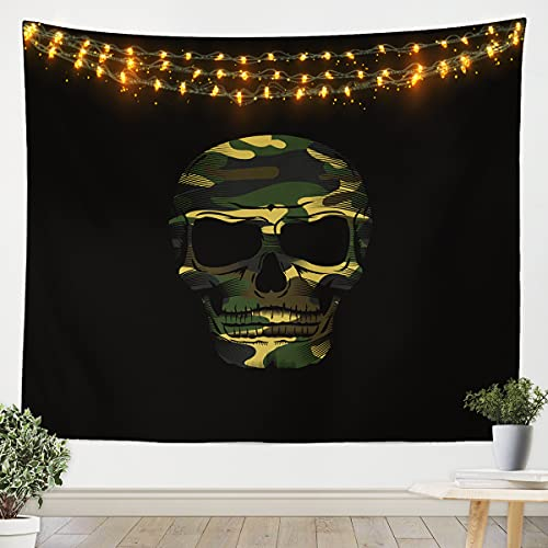 Camouflage Skull Tapestry Sugar Skull Wall Hanging Modern Wall Blanket for Kids Boys Girls Teens Halloween Black Medium 51x59