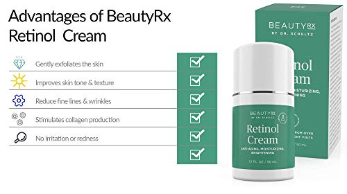 41SC3qYwQbL - BeautyRx by Dr. Schultz Retinol Cream Moisturizer 2.5% for Face & Eyes for Wrinkle, Fine Lines & Dark Spots w/ Hyaluronic Acid & Vitamin A. Best Night & Day Anti-Aging Treatment for Women & Men 1.7 oz