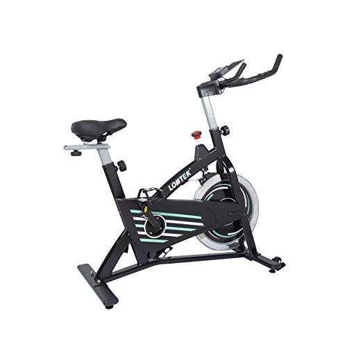 LONTEK Bicicleta Spinning Estatica con Resistencia Ajustable, Volante 13Kg, Sillín y Manillar Regulable, Bici Spinning Indoor Con Sensor de Pulso, Pantalla LCD y Soporte para Tableta - Peso Máx 125Kg